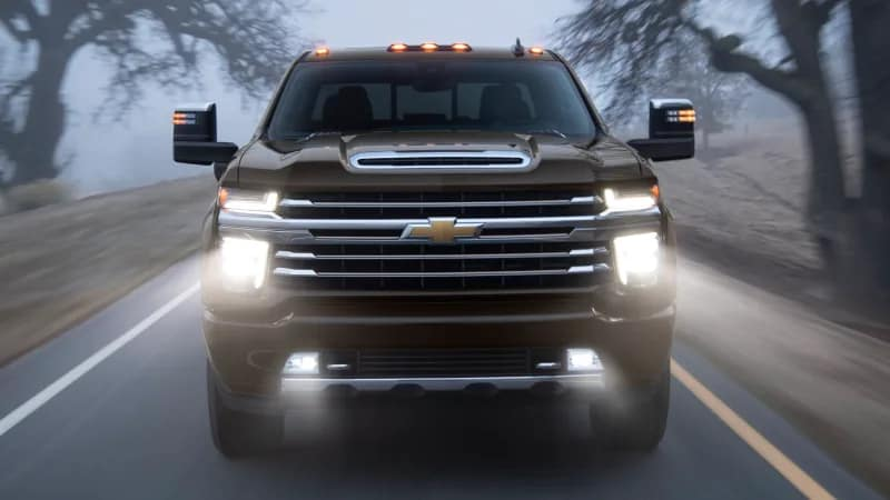 2020 Chevrolet Silverado HD Driving with headlights on