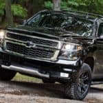 2020 Chevy Tahoe parking near trees