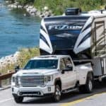 2020 GMC Sierra HD Denali towing a RV