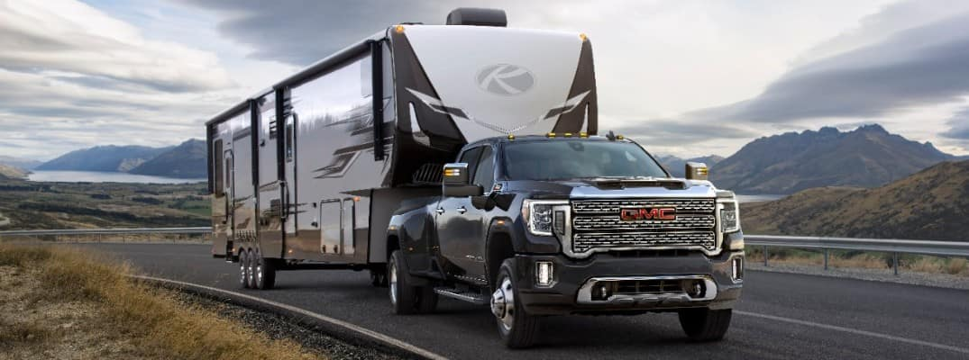 2020 GMC Sierra HD towing a trailer