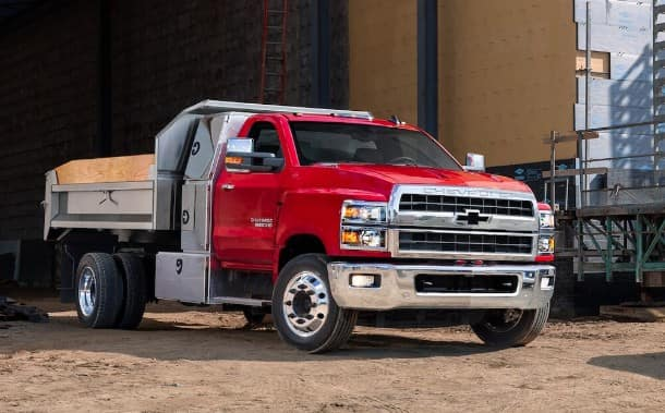 2019 Chevy Silverado Chassis Cab at a construction site