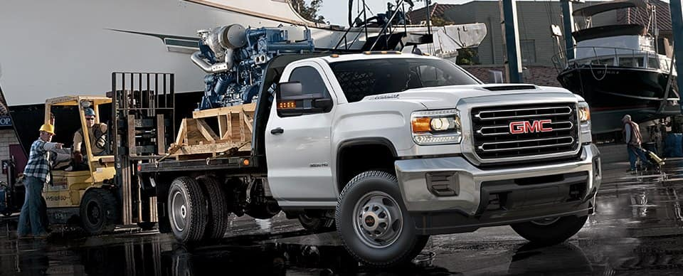 2019 GMC Sierra Chassic Cab at a work site