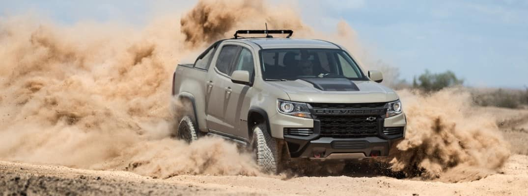 2021 Chevrolet Colorado driving in dust