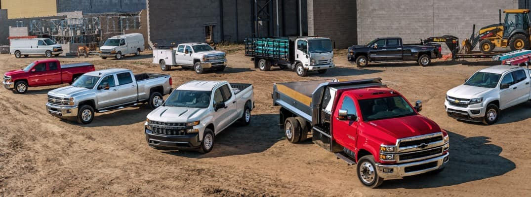 A lineup of 2020 Chevrolet light- and heavy-duty trucks