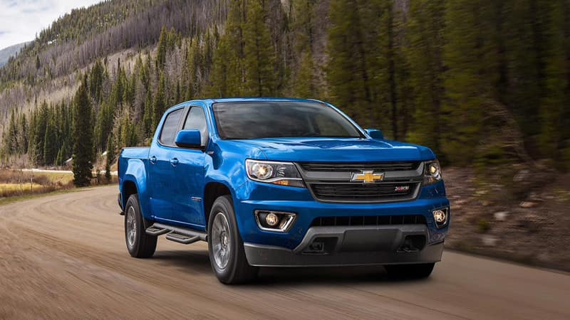 2020 Chevy Colorado Blue Z71 Driving