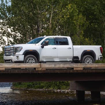 2020 GMC Sierra 2500HD Denali Driving over a Bridge