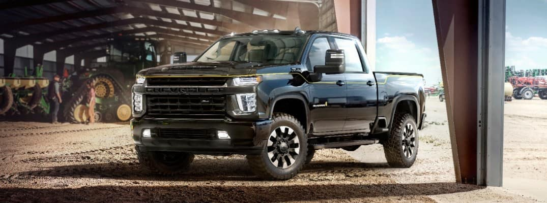2021 Chevrolet Silverado HD Carhartt Special Edition parked under an overhang of a building