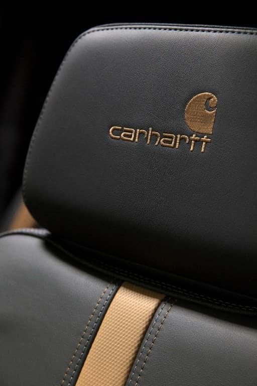 Carhartt logo on the headrest of the 2021 Chevy Silverado HD Carhartt Special Edition model