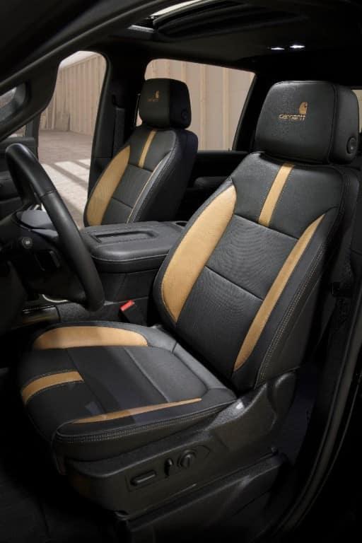 Front seats of the 2021 Chevrolet Silverado HD Carhartt Special Edition