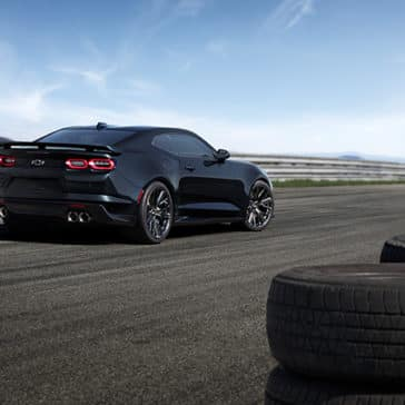 2020 Chevy Camaro Black on a Race Track