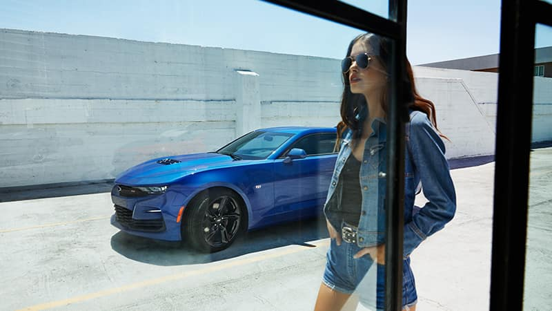 2020 Chevy Camaro Girl walking in front