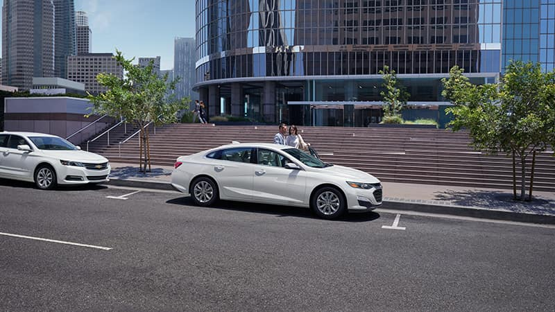 2020 Chevy Malibu White Parked in the City