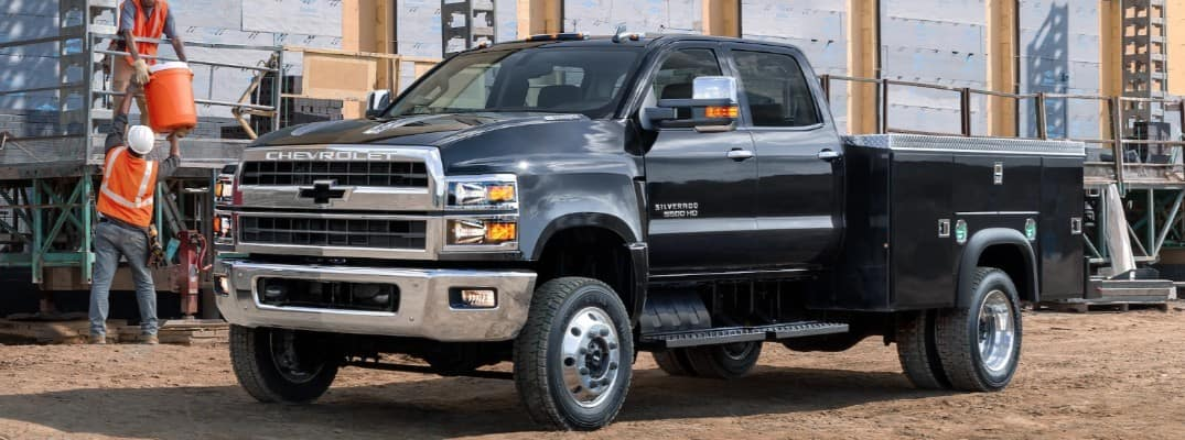 2019 Chevy Silverado Chassis Cab at a work site