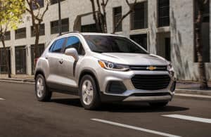 2020 Chevy Trax driving downtown
