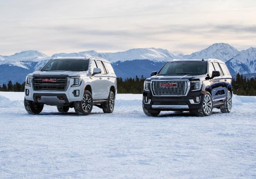 2021 GMC Yukon Denali and AT4 in the snow
