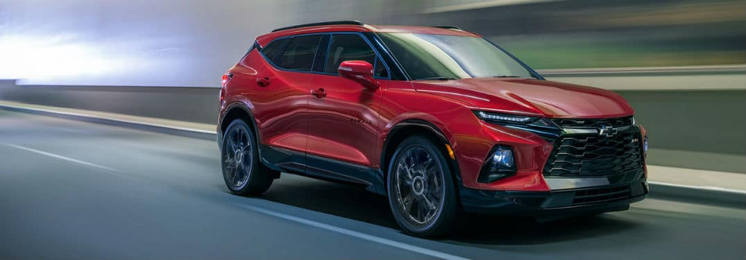 2020 Chevy Blazer exterior front fascia passenger side on blurred highway blurred surroundings