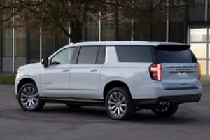 2021 Chevy Suburban parked downtown