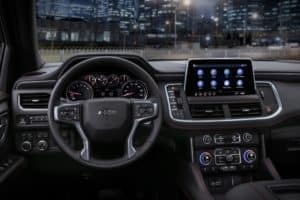 Steering wheel and dashboard in the 2021 Chevy Tahoe