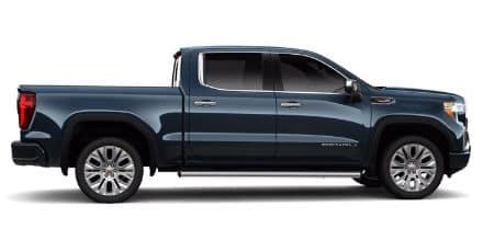 Pacific Blue Metallic 2020 GMC Sierra Denali exterior passenger side profile