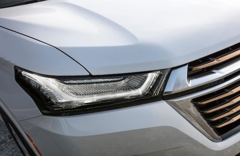 2021 Chevrolet Traverse close up of the newly designed headlight
