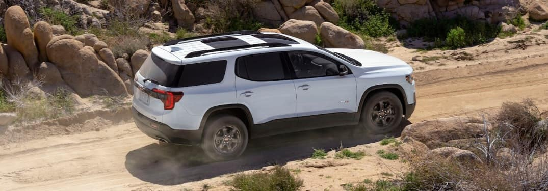 2020 GMC Acadia AT4 Trim level on a dirt path
