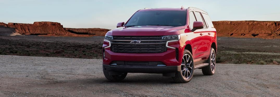 2021 Chevrolet Tahoe parked in front of desert mountains