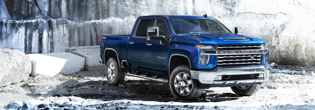 2020 Chevrolet Silferado HD parked in front of ice
