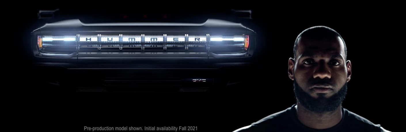 Front end of the 2022 GMC Hummer with an image of LeBron James