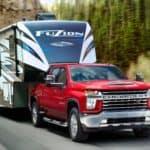 2020 Chevrolet Silverado HD pulling a large camper