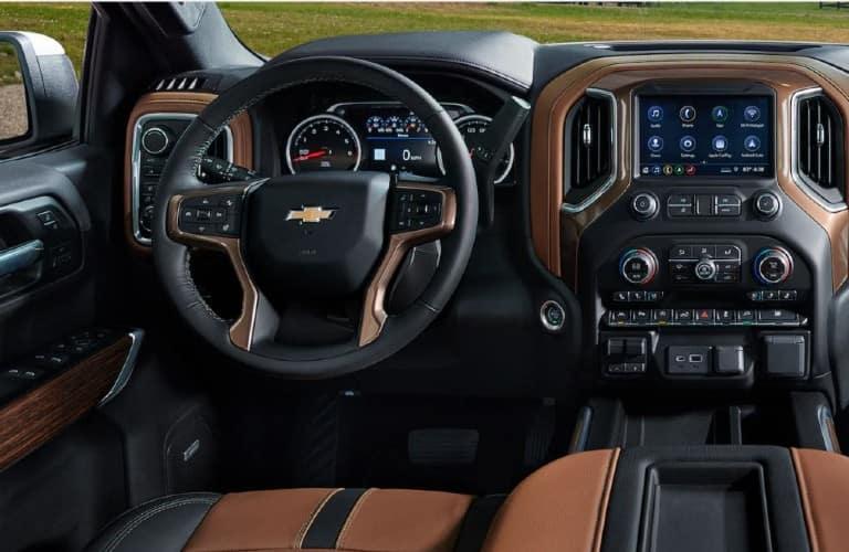 2021 Chevrolet Silverado steering wheel and dashboard