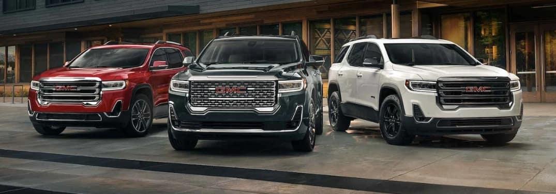 Three 2022 GMC Acadia SUVs