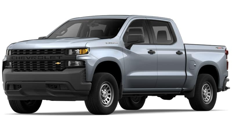 A silver 2019 Chevy Silverado WT on white