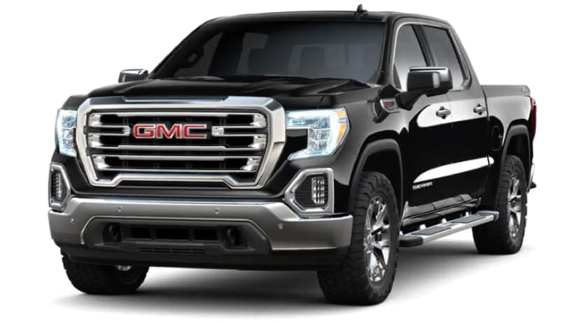 A black 2019 GMC Sierra on white