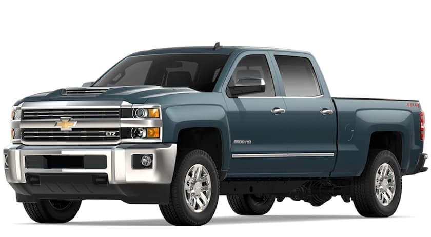 Blue 2019 Chevy Silverado 2500HD on white