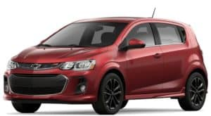 Red 2019 Chevy Sonic on white