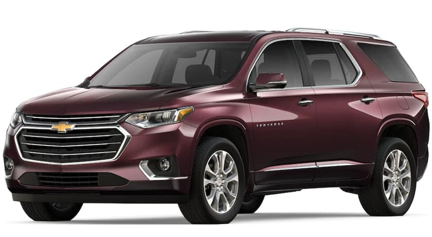 Maroon 2019 Chevy Traverse on white