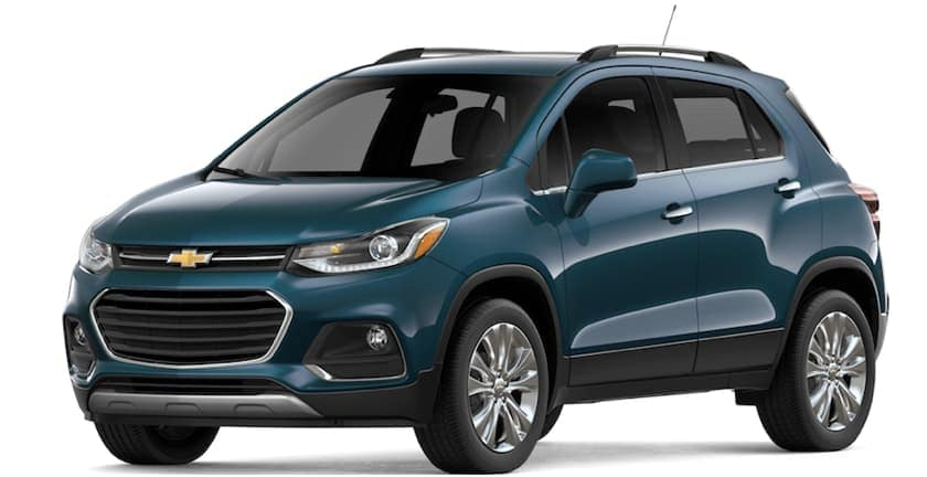 Teal 2019 Chevy Trax on white