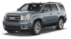Blue 2019 GMC Yukon on white