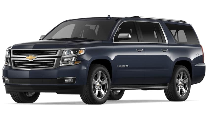 Blue 2019 Chevy Suburban on white
