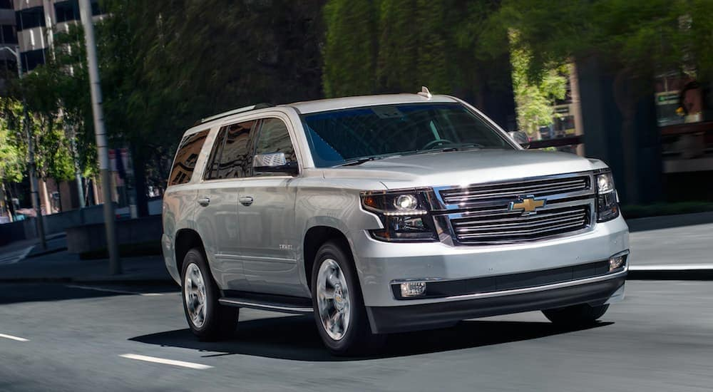 A silver 2019 Chevy Yukon from an Orlando Chevy dealer