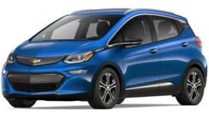 Blue 2019 Chevy Bolt on white