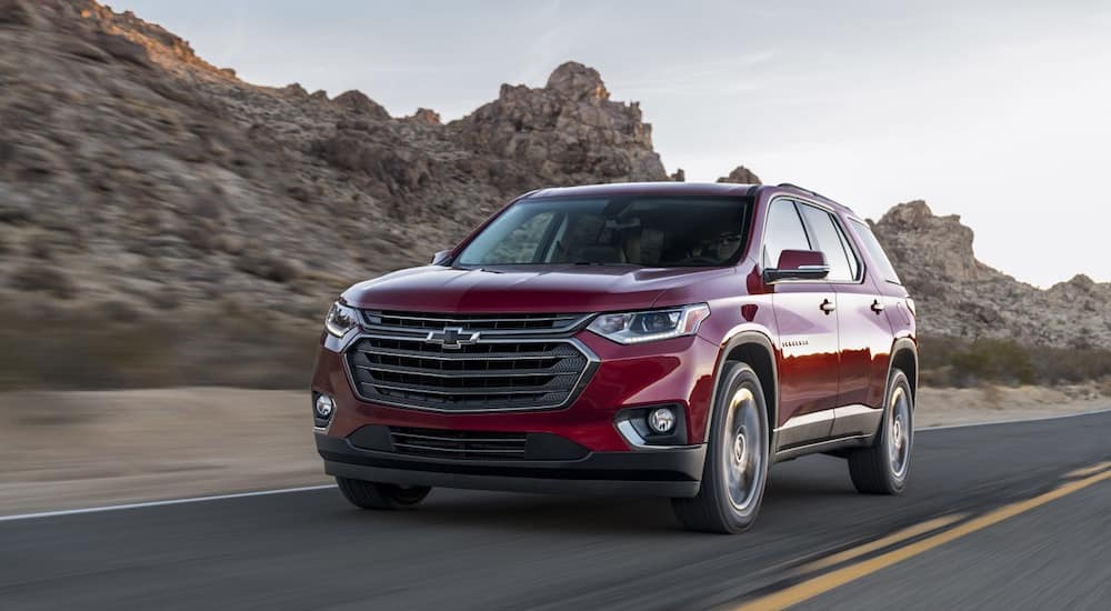 One of the most popular Chevy SUVs, the Chevy Traverse travels a desert highway