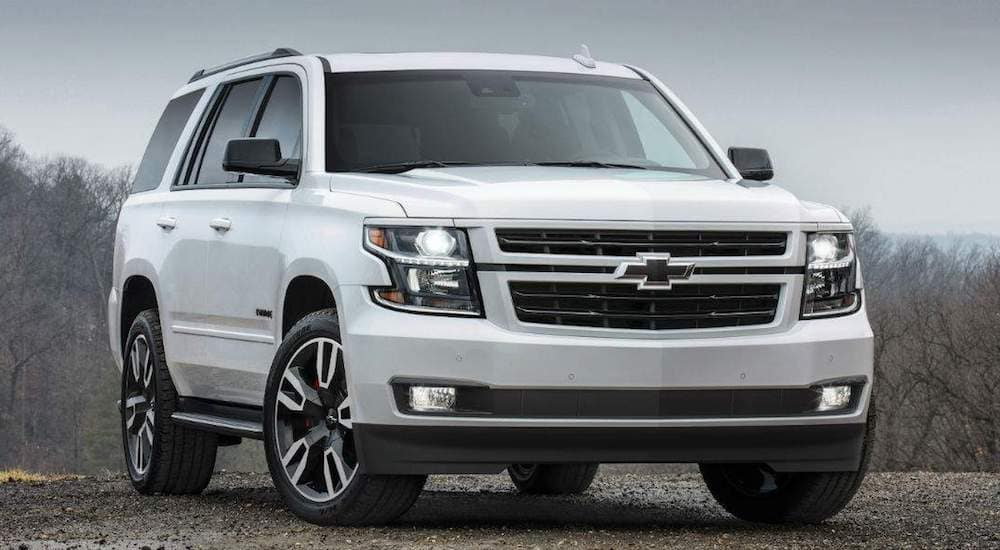 A white 2019 Chevy Tahoe on a dreary day