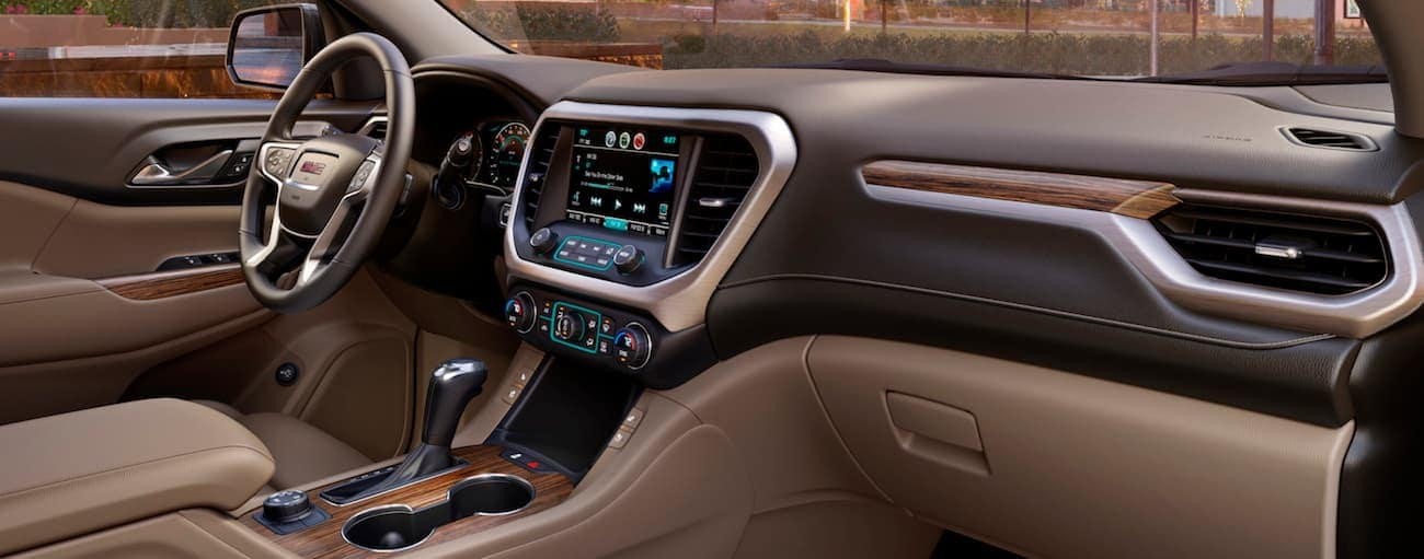 The two-tone leather interior of a 2019 GMC Acadia Denali