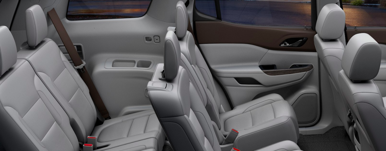 The gray interior seats of a 2019 GMC Acadia