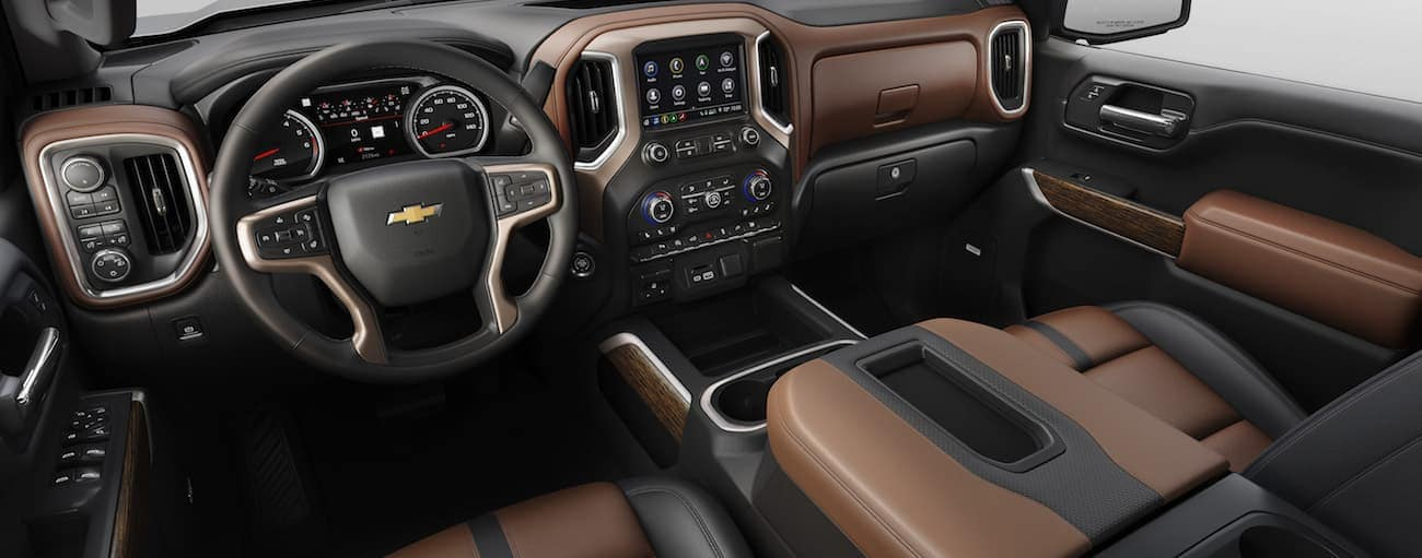 The two-tone interior of a 2019 Chevy Silverado High Country