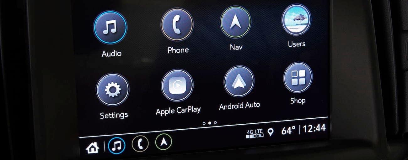 A closeup of the Terrain's infotainment screen that won 2019 GMC Terrain vs 2019 Nissan Rogue