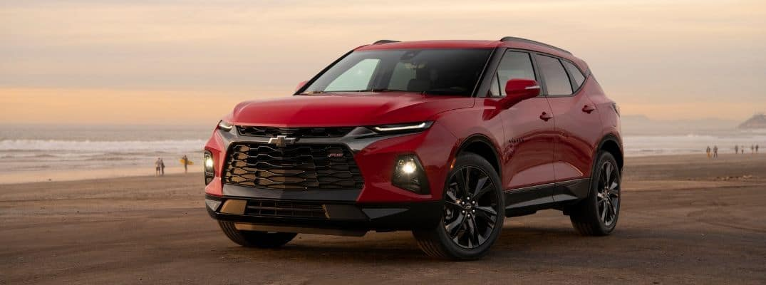 Red 2019 Chevrolet Blazer on beach