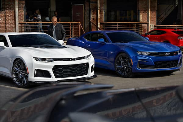 2020 Chevrolet Camaro in Summit White and Riverside Blue Metallic Colors