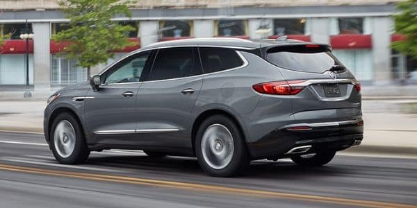 Gray 2019 Buick Enclave driving